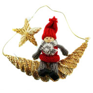 Tomte-Santa on Moon Straw Decoration (H1-736)