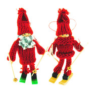 Tomte-Santa Boy and Girl Skier Ornament Set (H1-739)