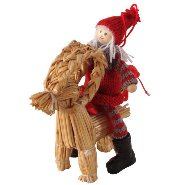 Goat Christmas Ornament.Tomte Girl On Straw Goat Ornament