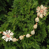 Straw Christmas Tree Garland - Large Snowflake (H1-901-4)