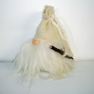 "Tomte w/White Wool Hat & Walking Stick - 8 1/2"" (7007W)"