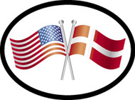 Denmark/USA Friendship Flags Car Decal (1322)