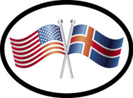 Iceland/USA Friendship Flags Car Decal (1338)