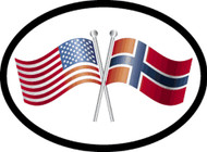 Norway/USA Friendship Flags Car Decal (1352)
