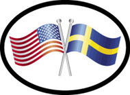 Sweden/USA Friendship Flags Car Decal (1375)