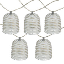 10 Battery Operated Lantern White LED M5 Mini Patio Lights - 5.75 ft White Wire
