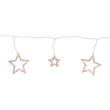 100-Count Multi-Color Star Shaped Mini Icicle Patio Lights, 7ft White Wire