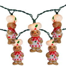 10-Count Clear Gingerbread Mini Patio Light Set, 9.3ft Green Wire