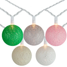 10 Multi-Color Yarn Ball Patio Globe Lights - 8.6 ft White Wire
