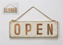 """16.3"""" Two-Sided Open or Closed Hanging Wooden Door Sign"""