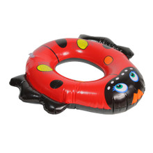"24"" Inflatable Red and Black Ladybug Swim Ring Tube Pool Float"