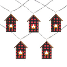 10 B/O LED Warm White Plaid Wooden House Patio Lights - 4.75' Clear Wire