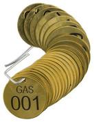 BRADY 23264 SET BRASS VALVE TAGS GAS 1-1/2^ DIA NUMBERED 1-25 BRADY CORPORATION SIGNMARK DIVISION 56286 56286