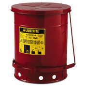 Justrite JUS-09300 0 Galvanized-steel Safety cans For Oily waste Red Foot Operated cover Raised, ventilated Bottom Reinforced ribs Self-closing UL listed FM approved Capacity: 10 gal. (38L).