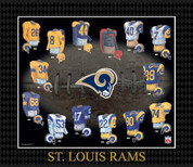Evolution of The Team Uniform Framed Photograph - NFL - Saint Louis Rams Saint Louis Rams EUFBSTLF EUFBSTLF