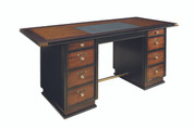 Authentic Models Captain's Desk in Black - Nautical Desk - Features Cherry Wood in French and Black Finish with Brass MF014 MF014