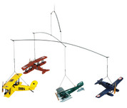 1920s Flight Mobile - 4 Plane Models - Made of Solid Wood with Stainless Steel Wiring - Authentic Models AP120 AP120