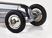 12 in. Length - Indianapolis - 1930s Indy Racer Replica - Silver with Red Seat - Authentic Models PC PC010R