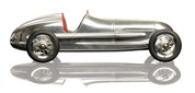 12.25 in. Length - Silberpfeil - 1930s Indy Racer Replica - Silver with Red Seat - Authentic Models PC014R PC014R