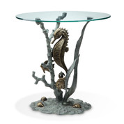 33786 Seahorse End Table ALUMINUM GLASS  33786