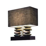 Elegant Designs Rectangular Dual Stacked Stone Ceramic Table Lamp with Black Shade LT1036-BLK