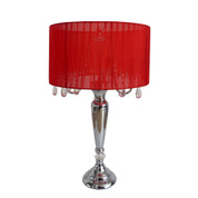 Elegant Designs Trendy Sheer Red Shade Table Lamp with Hanging Crystals LT1034-RED