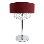 Elegant Designs Trendy Crystal and Chrome Table Lamp with Red Drum Shade LT1023-RED