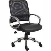 Boss Mesh Reception Guest Chair with Arms - Fabric - Black