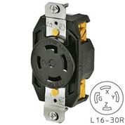 Bryant 71630FR TECHSPEC® Receptacle, L16-30, 30A, 3ph 480V AC, Black