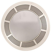 Broan 751 Fan/Light, 100 CFM, 3.5 Sones, round white grille with glass lens (no night-light) 751