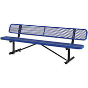 "Global Industrial 277155BL 96"" Expanded Metal Mesh Bench With Back Rest Blue"