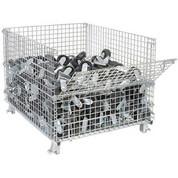 "Nashville Wire Folding Wire Container GC404830E4 48x40x36-1/2 3000-4000 Lb Cap.Drop Gate 40"" Side"