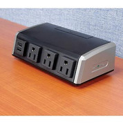 """Wiremold WSC320-S Commercial Cord Ended Tabletop Unit, 125V, 15A, 6-11/16""""L, 4 Outlets"""