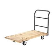"Hardwood Deck Platform Truck 48 x 24 1400 Lb. Capacity 5"" Rubber Casters"