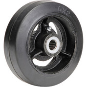 "6"" x 2"" Mold-On Rubber Wheel - Axle Size 3/4"""
