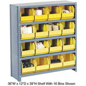 Steel Closed Shelving with 12 Yellow Plastic Stacking Bins 5 Shelves - 36x18x39