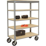 Global Industrial 585426 Easy Adjust Boltless 5 Shelf Truck 48 x 24 with Wood Shelves - Rubber Casters