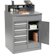 "Global Industrial 237408 Shop Desk with 5 Drawers and Cabinet, 34-1/2""W x 30""D x 51-1/2""H, Gray"