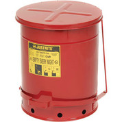 Justrite 138652RD Galvanized Steel Oily Waste Safety Can with Foot Lever, 14 Gallons Capacity, Red