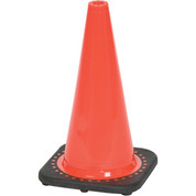 """Cortina Safety Products B566911 Cortina Vinyl Traffic Cone with Black Base, 18"""" Height, Red/Orange"""