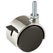 "2"" Plastic Twin Wheel Caster W/ Locking Brake W/ 5/8"" Stem - Chrome Hood Black"