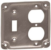 HUBBELL 662116 Hubbell Raco 1 Duplex Receptacle and Toggle Switch 4-Inch Square Exposed Work Cover.