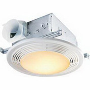 Broan Nutone 100 CFM, 3.5 Sones. Ceiling Fan-Light (no night-light), Round White Grille, 100W Incandescent Light 8664RP