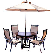 Hanover MONDN5PCG-SU Monaco 5 Piece Dining Set with 9' Table Umbrella and Base Outdoor Furniture, Tan