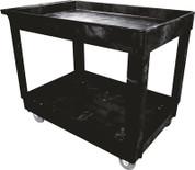 "Rubbermaid 134207 Commercial Utility Cart, Lipped Shelves, Medium, Black, 4"" Non-Marking Swivel Casters, 300 lb Capacity ()"