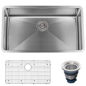 "MISENO MNO163018SR MSS3018SR Undermount 30"" X 18"" Stainless Steel (16 gauge) Kitchen Sink - Includes Basin Rack and Drain"
