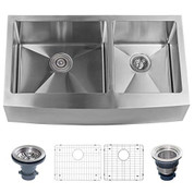 """MISENO MNO163620F6040 MSS3620F Apron Front 36"""" X 20"""" Stainless Steel (16 gauge) Kitchen Sink with 60/40 Split - Includes Basin Rack and Drain"""