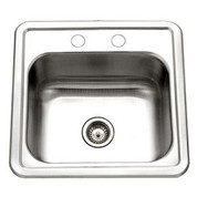Houzer 1515-6BS-1 Hospitality Hospitality bar sink 6 In deep, 2 holes, 24 ga Single box Stainless Steel