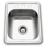 Houzer 1722-7BS-1 Hospitality Hospitality large bar sink, 6-1/2 IN deep 22 ga 3 holes Stainless Steel