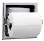 "Bobrick 663  304 Stainless Steel Recessed Toilet Tissue Dispenser with Storage for Extra Roll, Bright Finish, 6-1/4"" Width x 6-1/4"" Height"